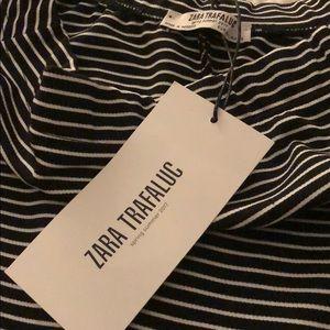 Zara Dresses - Black & White Striped Off the Shoulder Midi Dress